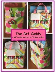 The Art Caddy Sewing pattern is designed to help organized your child's art space. It is a sturdy and spacious caddy that will hold crayons, paints, coloring books. paper pads, etc. Sewing Projects For Kids, Sewing For Kids, Sewing Crafts, Pdf Sewing Patterns, Sewing Tutorials, Painting For Kids, Art For Kids, Art Caddy, Caddy Bag