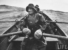 Shetlanders used to row out into the North Sea to fish for a week, in an open boat like this, in winter! by K. Ramsay