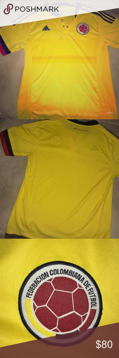 Colombia national soccer team jersey Red, Yellow, and Dark Navy Blue 2016 Colombia National Soccer Team Jersey.  100% Polyester. adidas Other