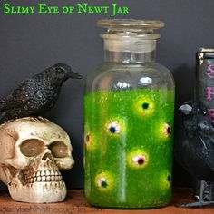 This Slimy Eye of Newt Jar is another idea to add to a witch them Halloween party. When I thought of making this jar, I thought of the retro spooky rooms I used to create as a kid.