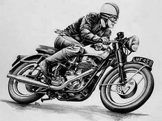 1957 BSA Goldstar Clubman Drawing by Harry Miller - 1957 BSA Goldstar Clubman Fine Art Prints and Posters for Sale Norton Motorcycle, Motorcycle Posters, Motorcycle Art, Bike Art, Motorcycle Tattoos, Vintage Bikes, Vintage Motorcycles, Vintage Cafe, Motocross