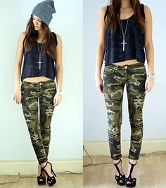 Awesome  Black Camouflage Camo Pants Timberlands Tumblr Girl  Wheretoget