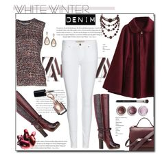 """WHITE DENIM"" by court8434 ❤ liked on Polyvore featuring moda, Envi, Burberry, Lanvin, Bare Escentuals, Mackage, Dolce&Gabbana, Loree Rodkin, women's clothing y women"