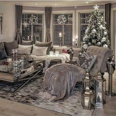 Silver living room decor living living room ideas together with ravishing photo black white and silver . Decor, Interior Design, Christmas Living Rooms, Living Room Grey, Apartment Living Room, Living Decor, Living Room Interior, Cozy Living, Silver Living Room