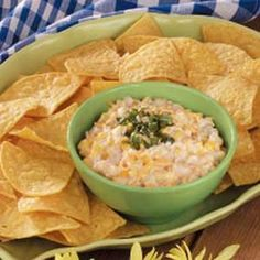 Mexi-corn Dip – Here is a variation to the original recipe: 2 cans of Mexi Corn, drained, 8 ounces Sour Cream, 8 ounces softened Cream Cheese, 8 ounces of mayonaise, 2 cups of shredded cheese, 4 ounce can of chopped green chili's,  4 ounce can of chopped jalepenos, 1 bunch of green onions sliced (stem and all).    Stir everything together, refrigerate for 1 hour. Serve with chips!