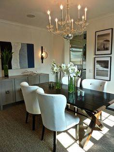 I love the casual dining table with the upholstered chairs done at Kensett Piper House dining area