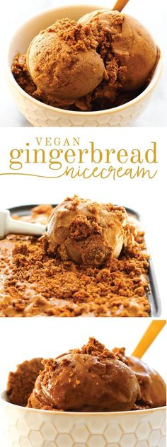 Gingerbread Nice Cream Banana base + plenty of spice + cookie chunks makes for a creamy, healthy holiday treat--no churning necessary! Vegan Treats, Vegan Foods, Healthy Sweet Treats, Healthy Cookies, Fitness Dessert, Patisserie Vegan, Coconut Dessert, Coconut Sugar, Brownie Desserts