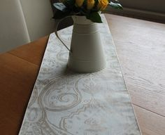 New Table runner just in ! Stunning off white line style fabric with light rose gold foil