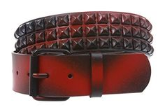 SNAP ON THREE ROW OF PUNK ROCK STAR METAL BLACK & RED STUDDED LEATHER ANTIQUE HAMMERED BELT Size: L/XL - 40 Made by #beltiscool Color #Black/red. Snap on, interchangeable buckle