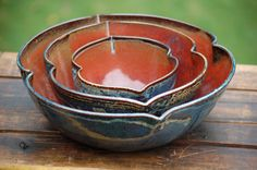 set of three stoneware nesting bowls with by thebasementpotter, $72.00