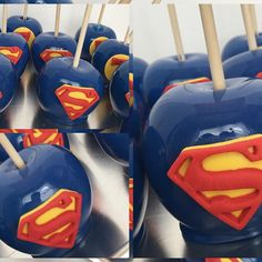 Who's your favorite super hero? Superman inspired Send all… Superhero Party Food, Superman Party, Superman Birthday, Marvel Baby Shower, Wonder Woman Party, Turtle Birthday Parties, Apple Decorations, Party Sweets, Candy Apples