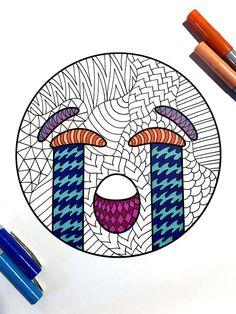Sob Emoji PDF Zentangle Coloring Page