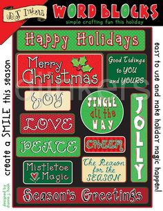Holiday words, holiday sayings, christmas sayings, christmas words, christmas stickers, holiday quotes