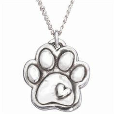 Paw and Heart Sterling Silver Necklace