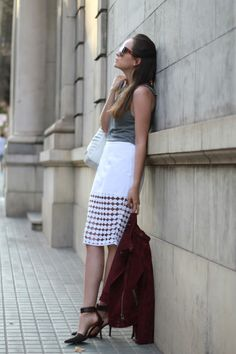 Street style: fashion blogger Andy Torres of Style Scrapbook wears a crochet-trimmed ASOS skirt (Summer 2012)