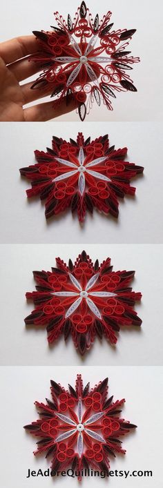 Snowflake Red White Blood Christmas Tree Decoration Winter Ornaments Gifts Toppers Fillers Office Corporate Paper Quilling Quilled Art Quilling Art, Corporate Gifts, Paper Strips, Christmas Tree Decorations, Pastel Colors, Blood, Wreaths, Red And White, Confetti