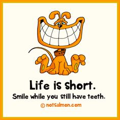 Life is short. Smile while you still have teeth. @notsalmon (click for more #inspirational #quotes )