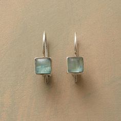 """DUSK BY THE SEA EARRINGS--On our 'Dusk by the Sea' earrings, sea-swept shadows cast their blue green hue on apatite cabochons framed in matte sterling silver. Sundance exclusive by Jane Diaz, handmade in USA with locking French wires. 1/2""""L."""