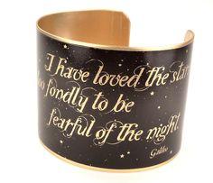 Galileo Quote Brass Quote Bracelet, Moon Jewelry, Astronomy