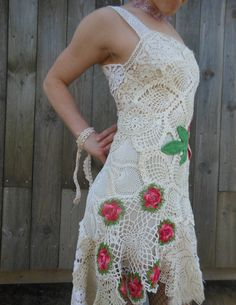 Floral Rose Pink and Vine Green Crocheted by TheCompostPile Etsy