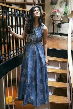 Blue Printed Sleeveless Long dress in a paisley print Indian Gowns, Indian Attire, Indian Ethnic Wear, Indian Outfits, Indian Style, Indian Long Dress, Kurtis Indian, Salwar Designs, Blouse Designs