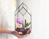 NEW! Large Geometric Tower Terrarium / Handmade Glass Terrarium / Modern Planter for Indoor Gardening / Geometric Orchid Planter