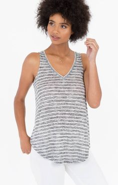 Crafted from a super-soft knit fabric, this striped tank top features a V-neckline, a back keyhole detail, a back slit, and a curved hem. Shop Rags, Striped Tank Top, Spring Summer 2018, Tank Tops, Women, Products, Fashion, Pink, Halter Tops