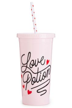 With a new, instant crush inducing improved formula, there's no need for cupid! This fun BAN.DO 'Love Potion Sip Sip' travel tumbler has everything needed to find 'the one'.