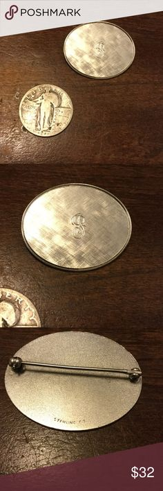 "Selling this Vintage engraved ""J"" brooch on Poshmark! My username is: kennjenn2010. #shopmycloset #poshmark #fashion #shopping #style #forsale #vintage #Jewelry"