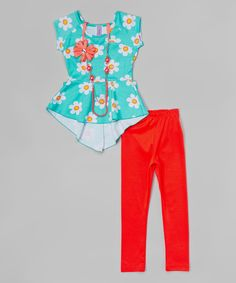 Love this Mint & Coral Daisy Top Set - Toddler & Girls by Maya Fashion on #zulily! #zulilyfinds