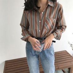 #Spring #AdoreWe #YesStyle - #Serendipitous Striped Long-Sleeve Shirt - AdoreWe.com