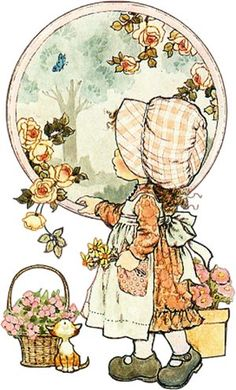 Vintage Holly Hobbie-style designs. Reminds me of my childhood.