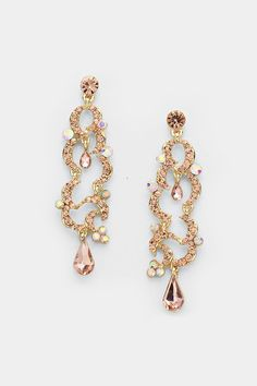 Crystal Valentina Earrings in Rose Champagne on Emma Stine Limited