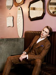 3 Piece Tweed Suit with Slim Trousers & Waistcoat with Lapels. Men's fashion and style.