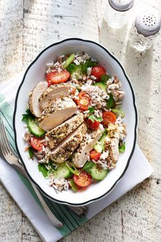 Greek Chicken with Tomato-and-Rice Salad