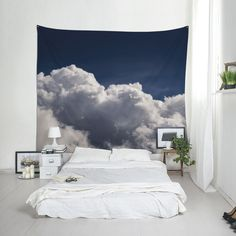 Cloud Wall Blanket Blue Sky Print Clouds Tapestry Wall Tapestry Photo Wall Art Modern Tapestry Boho Chic Decor Home Decoration. Window Wall Decor, Family Wall Decor, Cute Wall Decor, Unique Wall Decor, Blanket On Wall, Blue Blanket, Art Mural Photo, Black And White Clouds, White Sky
