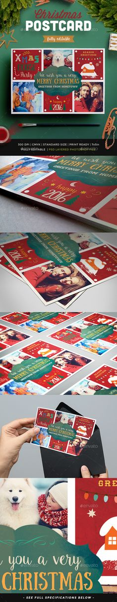Lovely Christmas Photo Postcard Template PSD #design Download: http://graphicriver.net/item/lovely-christmas-photo-postcard-ii/13673858?ref=ksioks