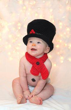 Newborn Infant Baby Black Snowman Top Hat by LjsCrochetedTreasure, $35.00