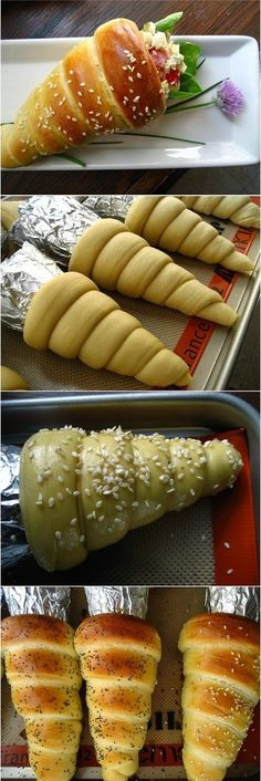 Twist the mundane into something unique -- literally! Try making these delicious bread cones for a different kind of breakfast, or to eat as a snack. I Love Food, Good Food, Yummy Food, Bread Cones, Pizza Cones, Snacks Für Party, Tapas, Foodies, Delish