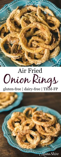 Low Carb Recipes Air Fried Gluten Free Onion Rings so yummy and easy to make. Enjoy these crunchy onion rings that are low fat and low carb. THM-FP - Delicious and easy to make onion rings. Air Frier Recipes, Air Fryer Oven Recipes, Air Fryer Recipes Gluten Free, Vegan Keto, 7 Keto, Onion Rings Air Fryer, Air Fryer Recipes Onion Rings, Onion Recipes, Brocolli Recipes