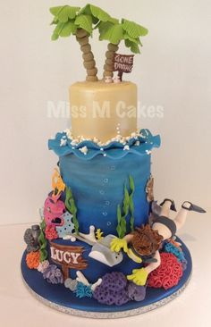 Under the Sea cake with shore..Just love the palm trees.