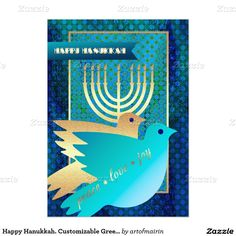 Happy Hanukkah! Menorah and Peace Dove Design Customizable Hanukkah Flat Greeting Cards / Hanukkah Celebration Invitations with personalized text. Matching cards, postage stamps and other products available in the Jewish Holidays / Hanukkah Category of the artofmairin store at zazzle.com