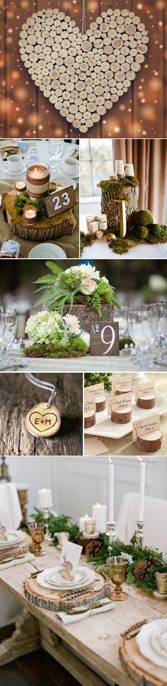 Decoracion de boda con troncos de madera #rusticdecor #rusticweddingdecor…