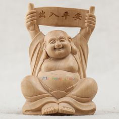 Chinese Boxwood Hand Carved Feng Shui Sit Buddha Statue Safety Fine Trip