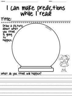 Students can make predictions about what they will read in literacy by looking at the images and words. They can draw a crystal ball and write their predictions inside.
