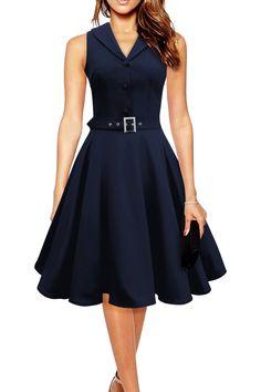 Sisjuly Women Vintage Dresses Summer Elegant Dress Sleeveless Party Dresses dark blue style a line rockabilly dress Women's A Line Dresses, Pin Up Dresses, Fashion Dresses, Dress Up, Summer Dresses, Party Dresses, Dresses Dresses, A Line Dress Work, Dress Sash