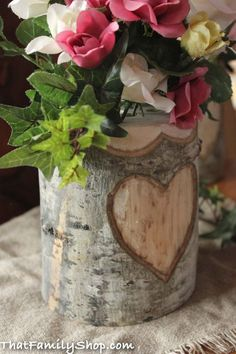 Rustic Wedding Log Flower Vase With YOUR Names/date Personalized into Debarked Hearts Wedding Table Centerpieces, Flower Centerpieces, Flower Vases, Flower Pots, Flower Arrangements, Wedding Decorations, Table Decorations, Centerpiece Ideas, Autumn Centerpieces