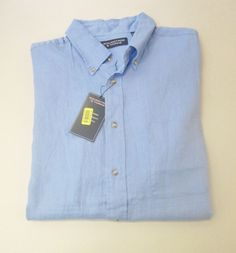 Cremieux Light Blue Heather Linen Short Sleeve Button Down Pocket ...