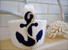 Flower girl beach wedding anchor basket by EandAHeritage