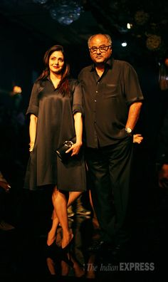 Sridevi with her husband Boney Kapoor at the Lakme Fashion Week Winter/Festive 2014 finale. #Bollywood #Fashion #Style #Beauty